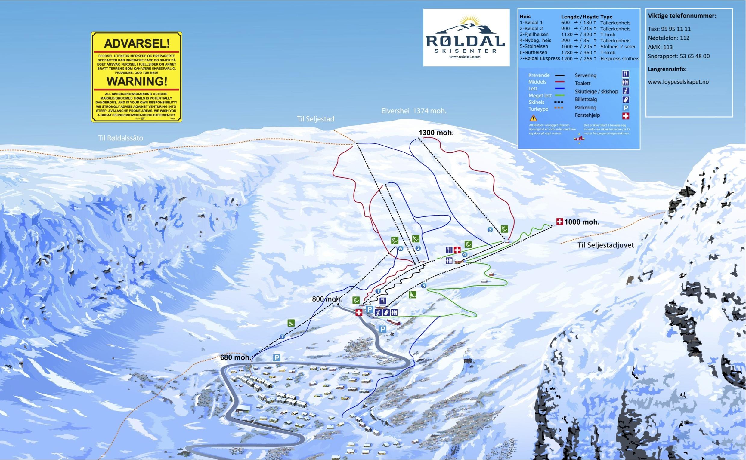 røldal kart Alpin løjpekort   Norsk Hytte Udlejning røldal kart